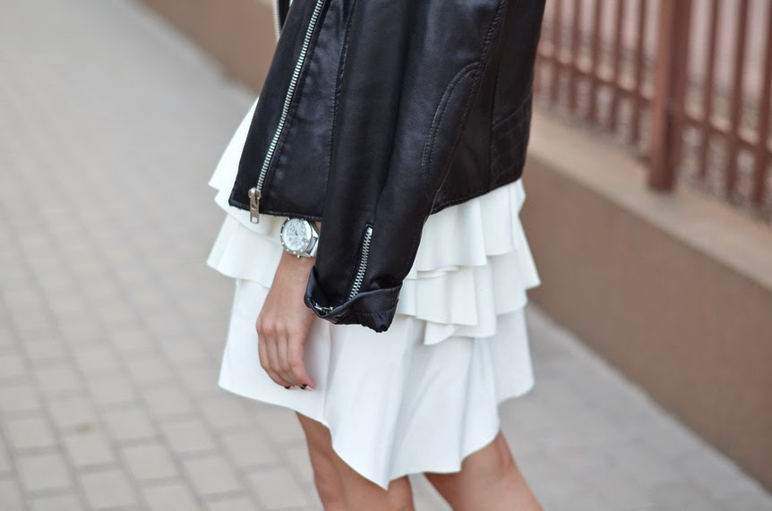 WHITE DRESS, LEATHER JACKET & NIKE DUNK SKY HI