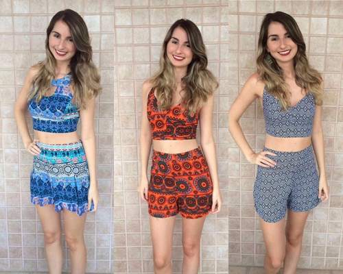 Conjunto estampado de cropped com short