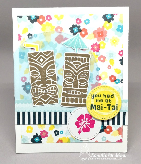 Mai-Tai Tiki Tropical Drink card by Danielle Pandeline |  Tiki Time stamp set by Newton's Nook Designs #newtonsnook