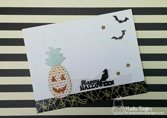 Pineapple Jack-o-Lantern Card by Naki Rager | Spooky Street Stamp set and Pineapple Delights Die set by Newton's Nook Designs #newtonsnook