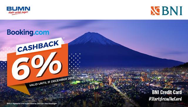 Bank BNI - Promo Cashback 6% di Booking.com (s.d 31 Des 2018)