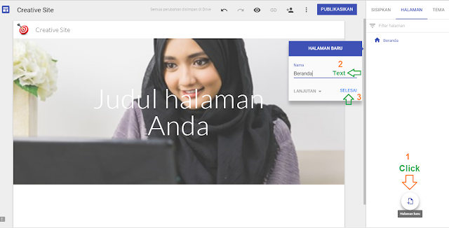 Cara membuat menu navigasi website di google sites - Gambar 1