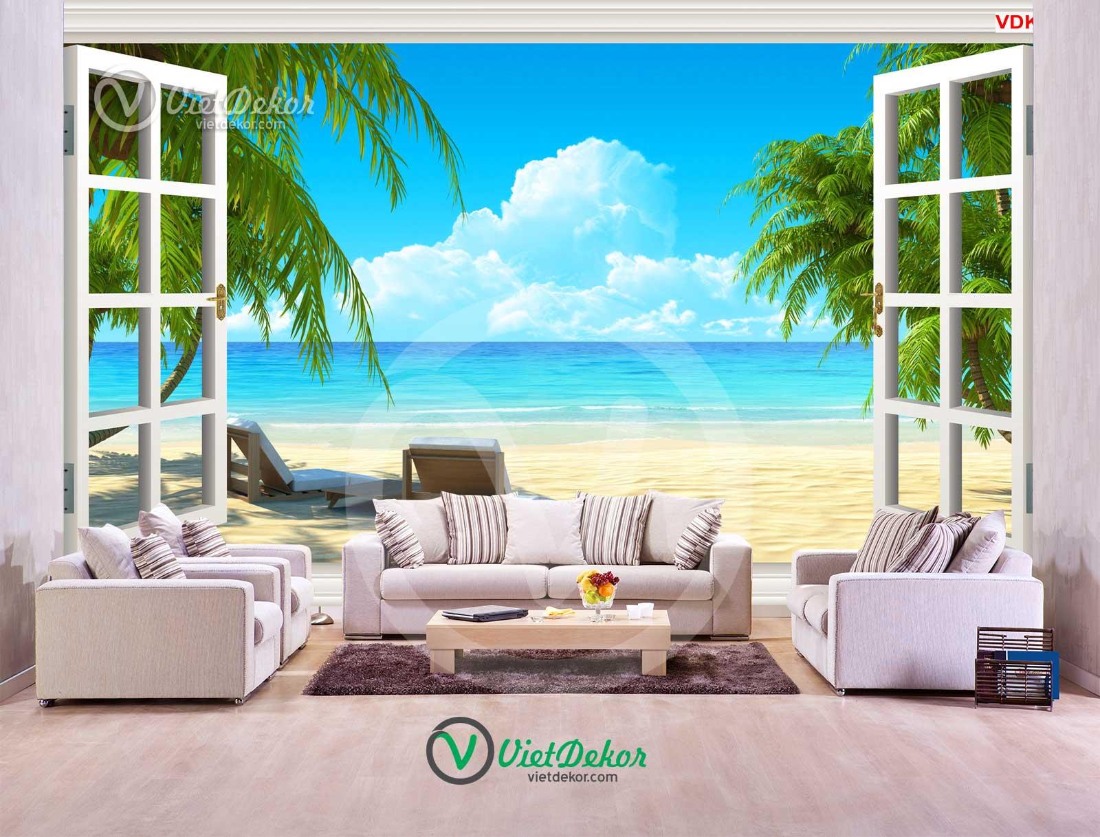 Tranh dán tường cửa sổ phong cảnh biển