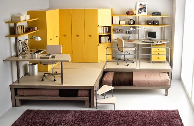 Dormitorio juvenil amarillo marrón