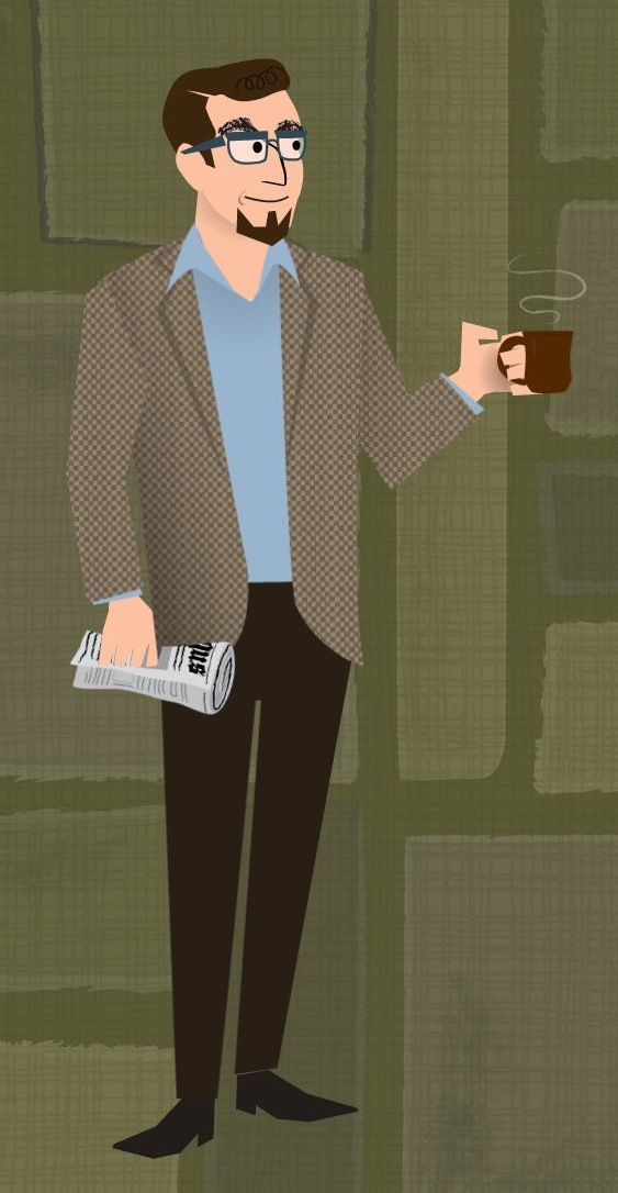 stylized art of white male with glasses in open-collared shirt, jacket, and slacks, holding newspaper and steaming coffee mug