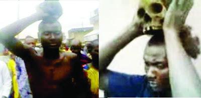 man beheads dead woman corpse