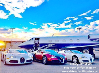 Three bugatti veyron, a private jet, seemed designed to show off their wealth, but the scene was shocking enough