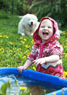 A little girl playing with water with a dog in the background
