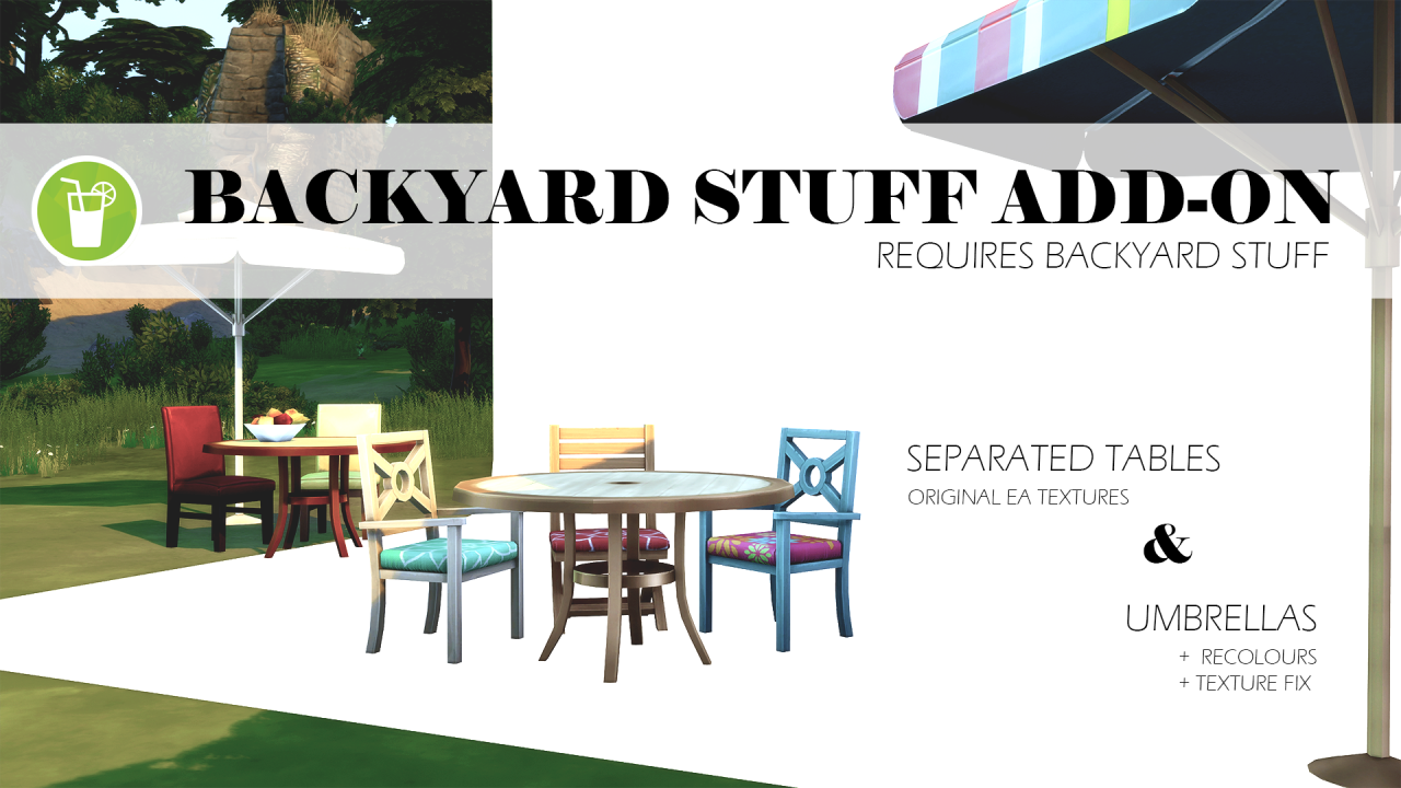 backyard stuff add on separated tables and umbrellas by phyresimblr