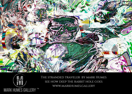 """""""The stranded traveler."""" is digital abstract art created by Mark Humes using a color palette of white, green, black, blue, yellow red and purple; depicting a man in a straight jacket who is having doctors apply treatment as he sees visions of being that inhabit the worlds he has created in his mind."""