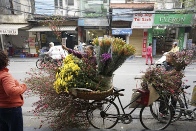 Tet come in with the trains carrying peaches on the street
