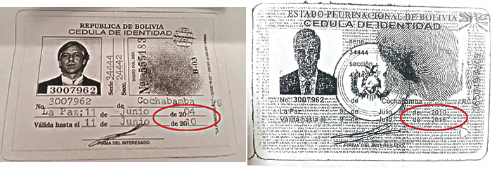 Documentos de identidad del Vicepresidente de Bolivia