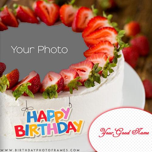 Customized Strawberry Birthday Cake With Photo And Name Wish