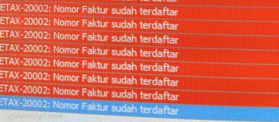 e-Fakttur Error ETAX 20002 Nomor Faktur Sudah Terdaftar