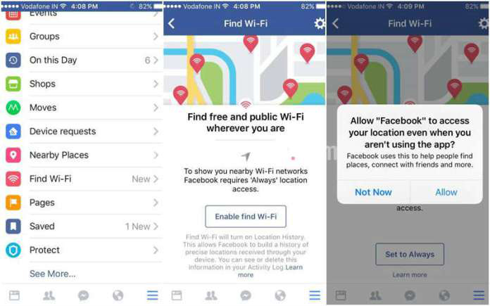 "Facebook introduced New feature ""Find Wifi""  for all Worldwide Users"