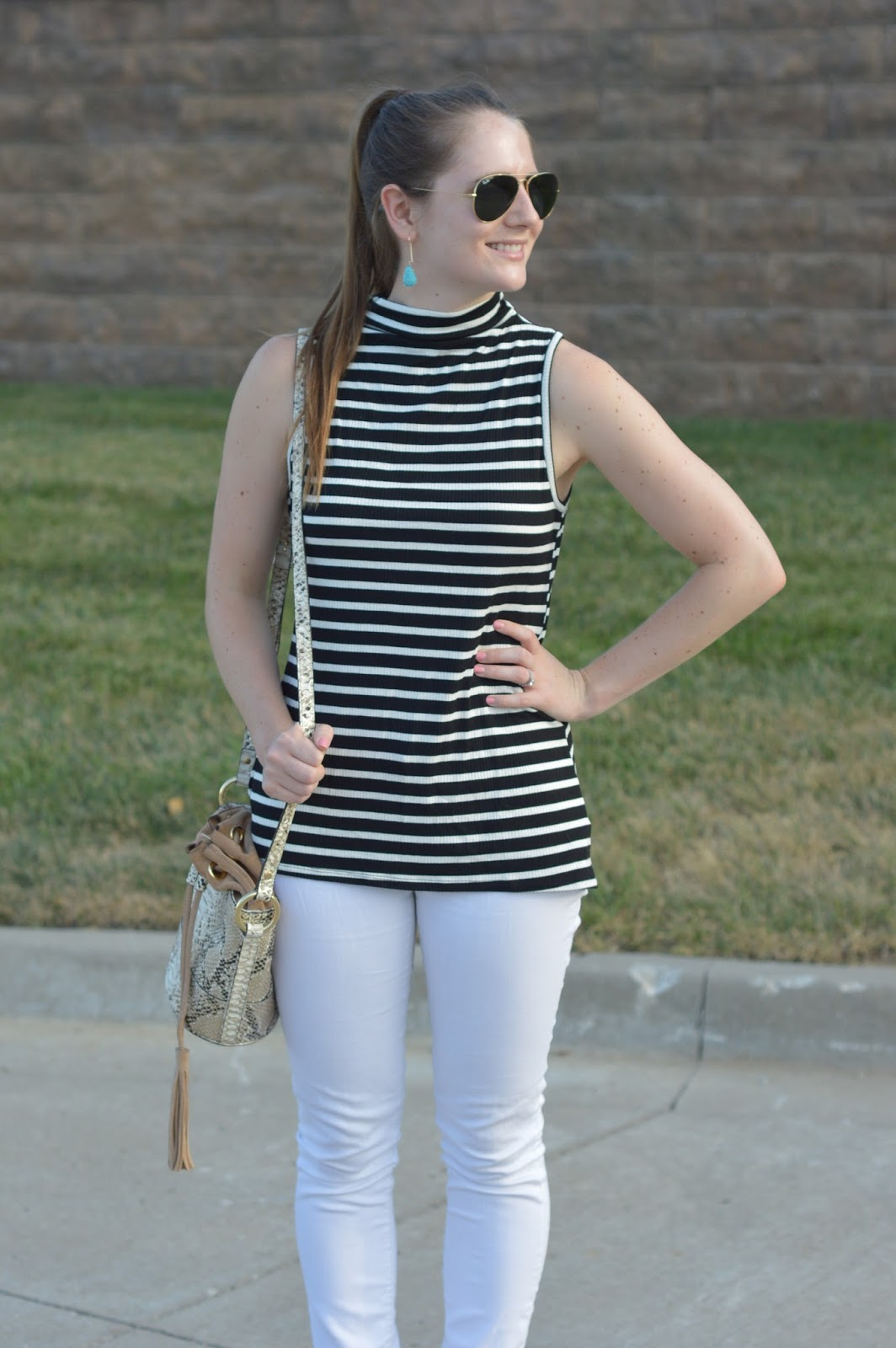 striped tops in the nordstrom sale | a memory of us | cute outfits for summer | mock neck tank top outfit ideas | black and white stripes | a memory of us | what to wear this summer |