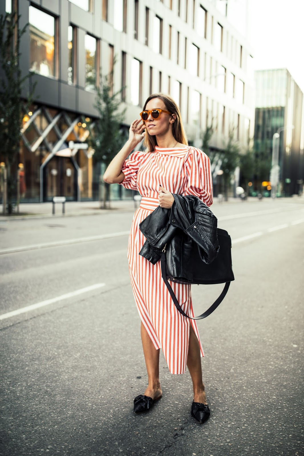 zara striped dress outfit