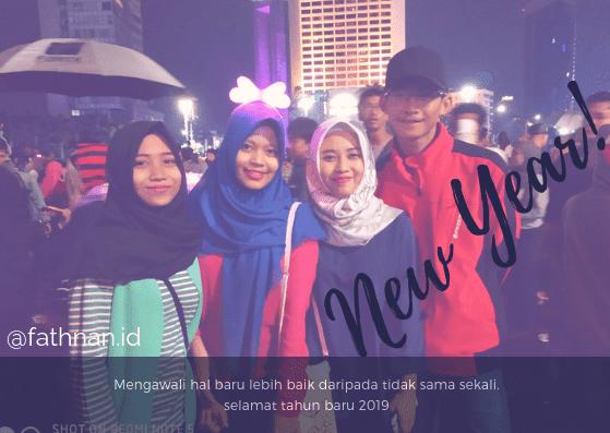 Suasana Tahun Baru di Bundaran HI Jakarta Pusat