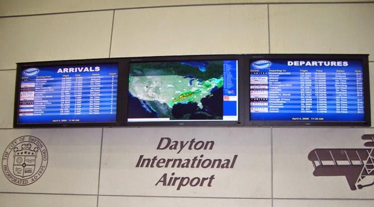 departure screen at Dayton International Airport