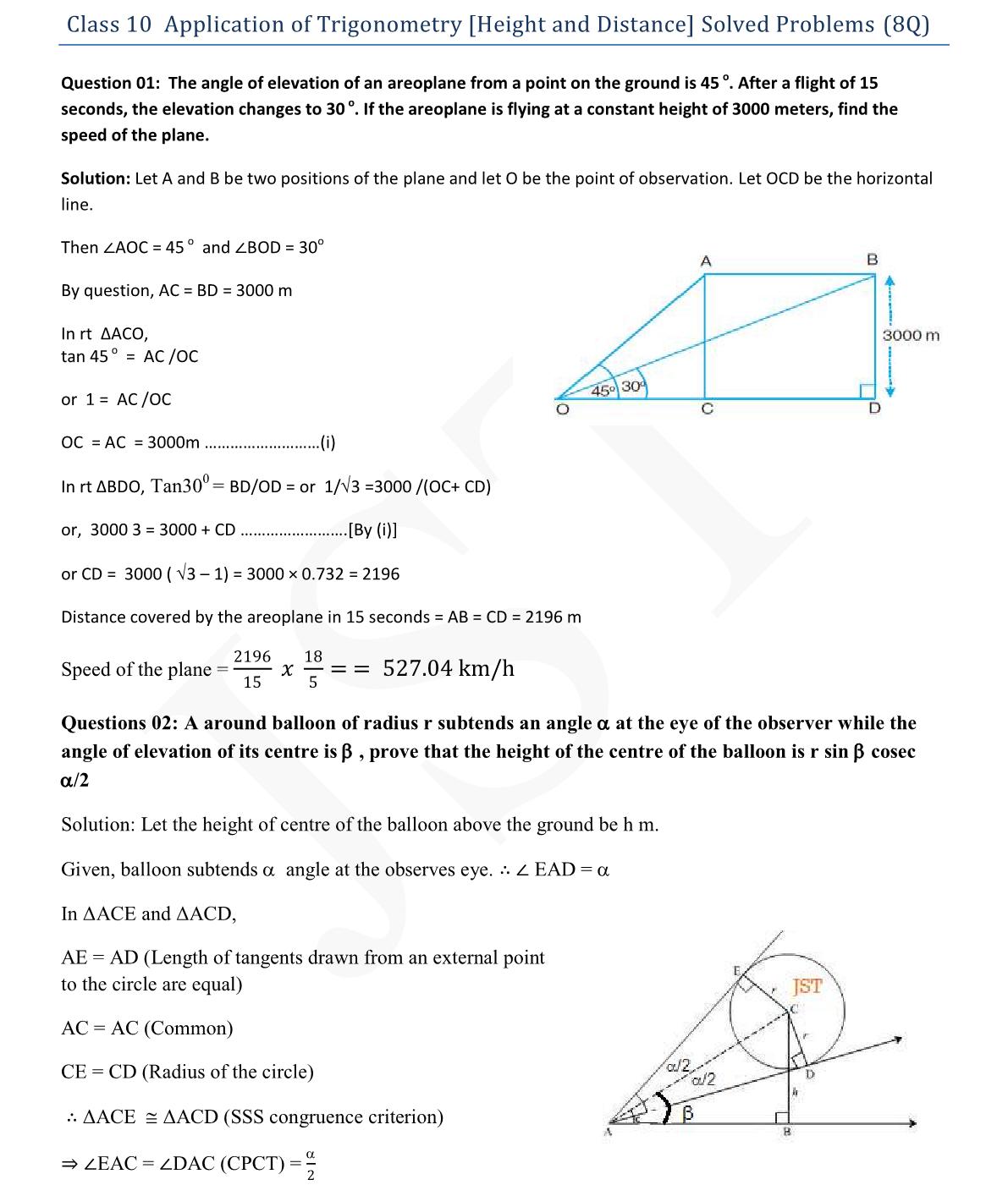 Mcq Questions For Class 10 Maths Trigonometry