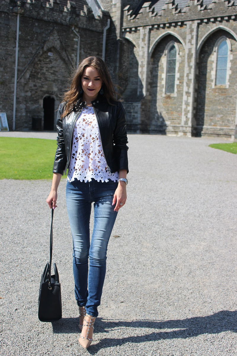real leather jacket, mango bag, diesel jeans, bcbg max azria shoes