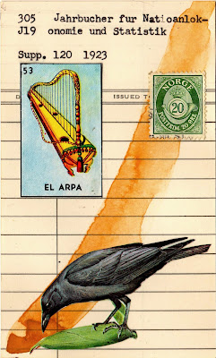 crow raven library due date card loteria el arpa harp norway postage stamp crown Dada Fluxus mail art collage