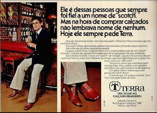 propaganda calçados Terra - 1977, moda anos 70; propaganda anos 70; história da década de 70; reclames anos 70; brazil in the 70s; Oswaldo Hernandez