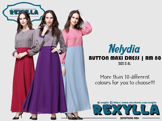 rexylla, maxi dress, button maxi dress, joint colour, princess cut, nelydia collection