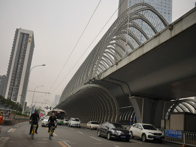 Zhongbei Road, including an elevated section with many arches over it, in Wuhan