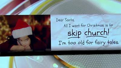 """O reclamă imensă din America de Crăciun (produsă de grupul de atei de la atheist.com), """"Dragă Moș Crăciun, tot ce vreau de Crăciun este să sar peste slujba de biserică! Sunt prea bătrân pentru povești."""" - imagine preluată de pe google images"""