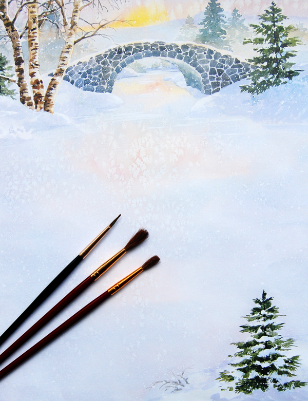 Winter Morn Letter Paper from Idea Art with three paint brushes placed on top of the paper.