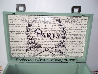 Eclectic Red Barn:  Wine box with Paris graphic overlay