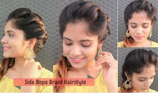 Easy Side Rope Braid Hairstyle for Medium to Long Hair | Quick Braided Hairstyle for school/college