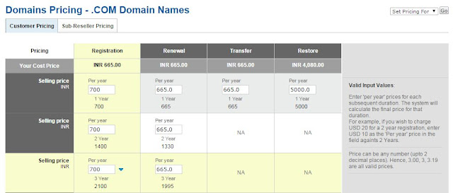 Adding Profit to on Domain Cost Price