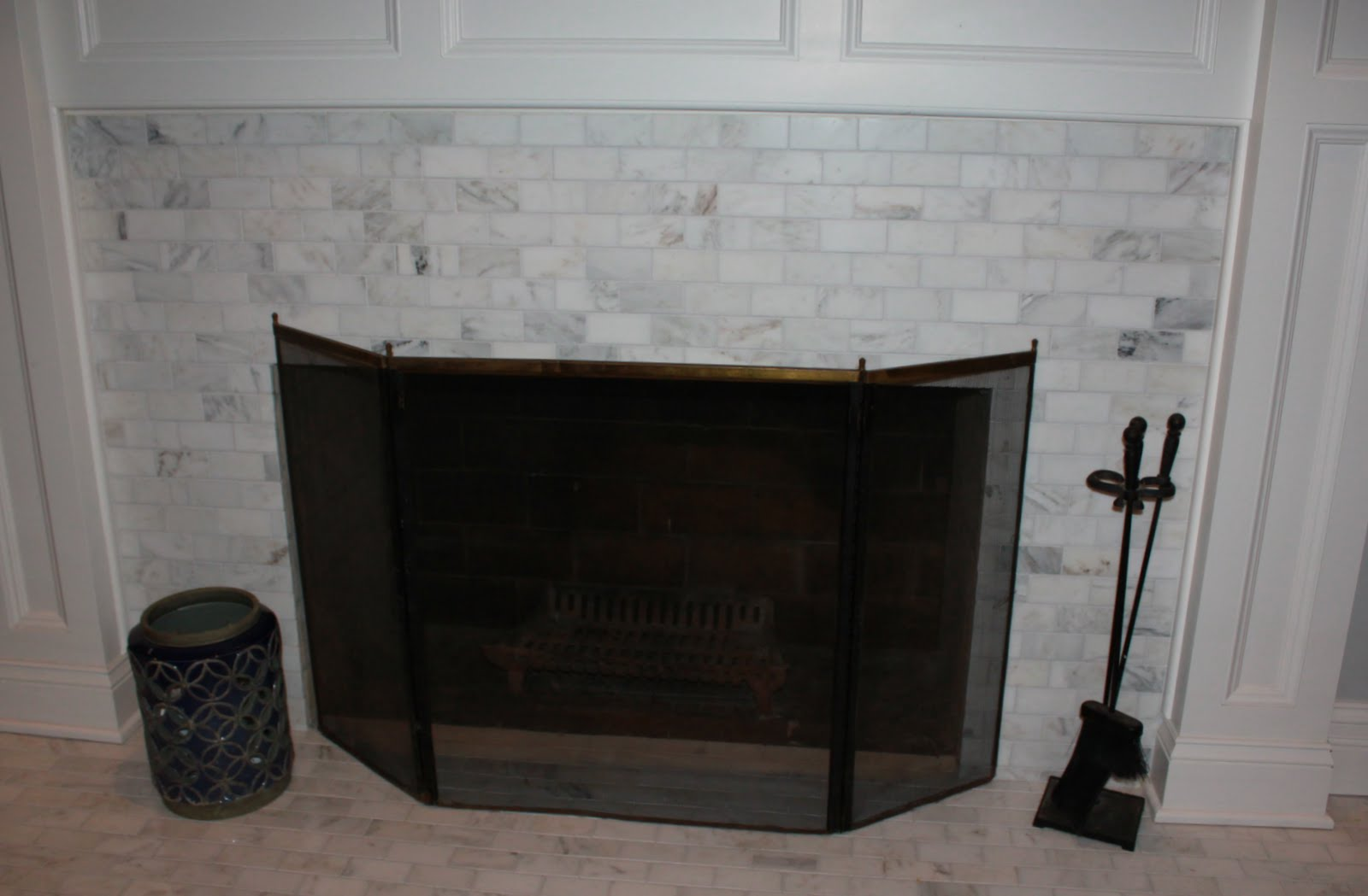Marble Subway Tile Fireplace Surround