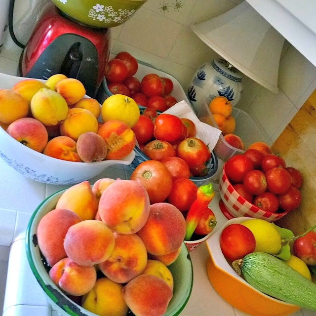 fresh peaches, garden tomatoes, vintage kitchen