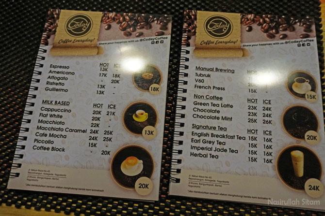 Daftar menu dan harga kedai kopi Coday