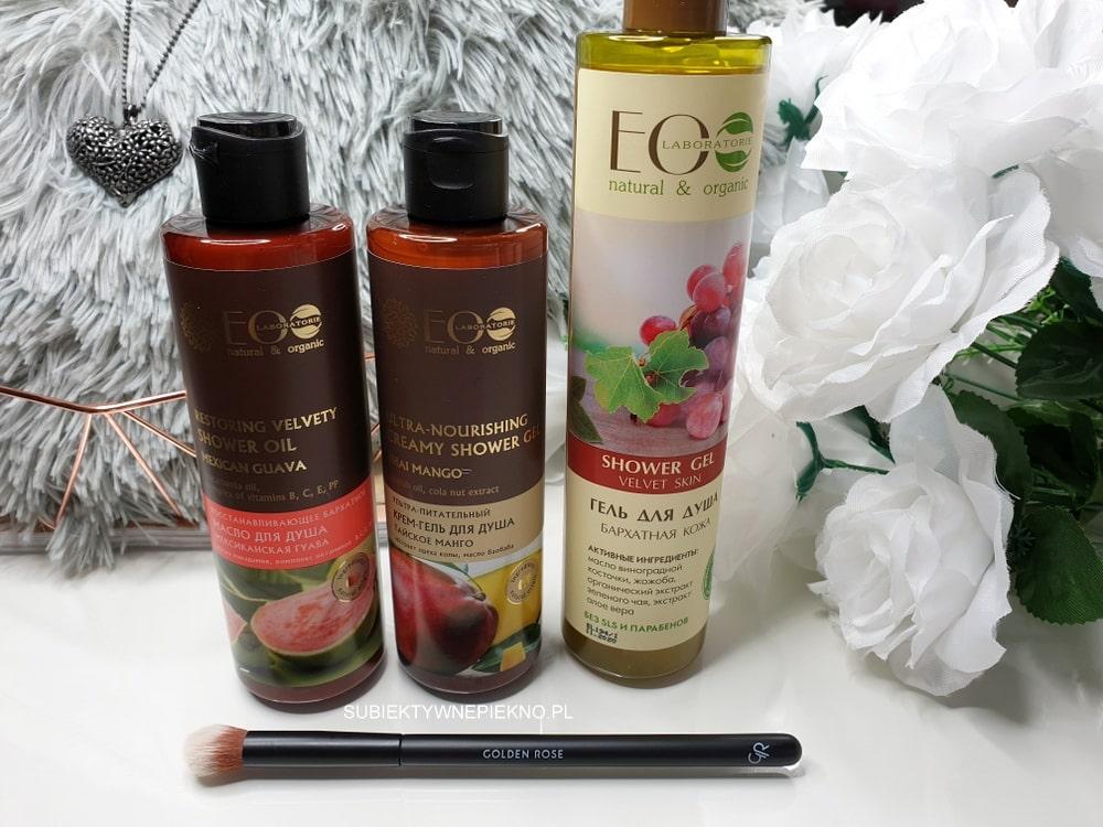 Żele, olejki pod prysznic Ecolab i pędzel do rozświetlacza Golden Rose