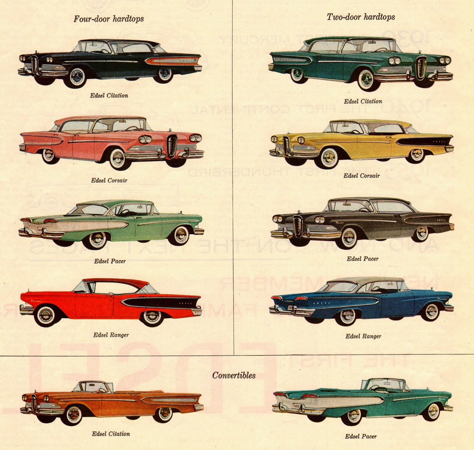 Ford edsel 1958 car models the wrong car at the wrong for Ford motor vehicle models
