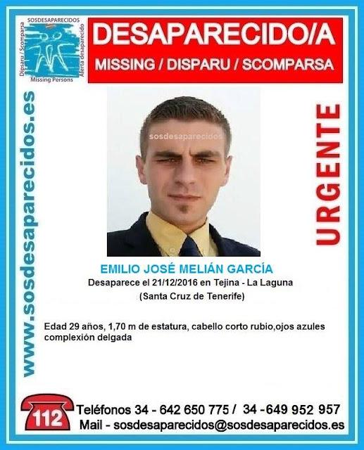 Emilio José Melíán Garcia hombre desaparecido en Tejina, La Laguna, Tenerife