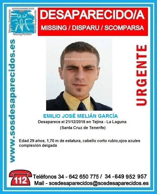 Hombre desaparecido en Tejina, La Laguna, Tenerife
