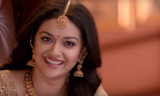 Keerthy Suresh in Saree with Cute and Awesome Lovely Smile in AVR Jewellery Ad Images