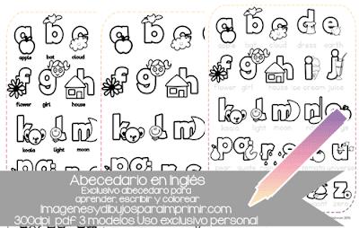 Colorear abecedario en ingles