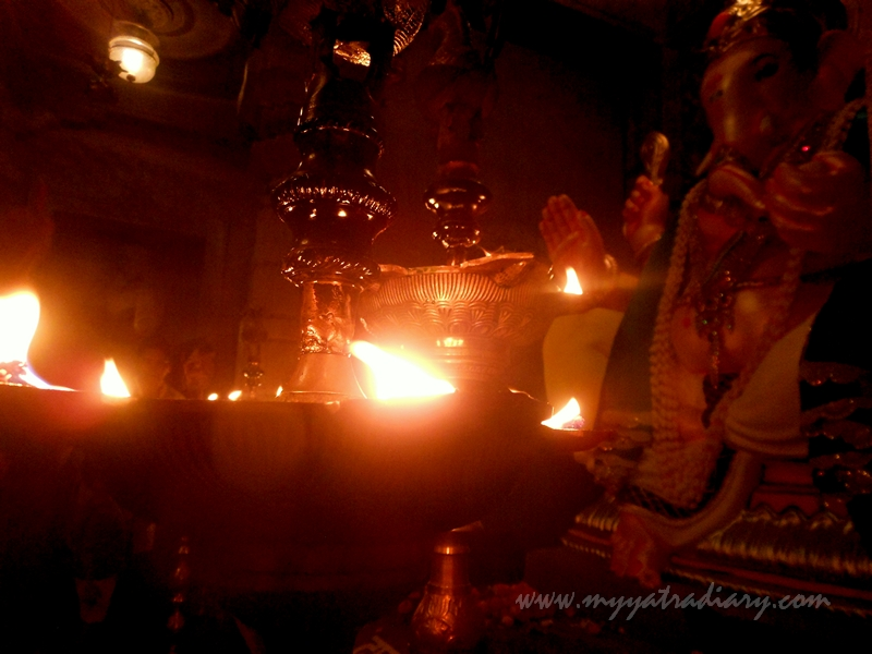 Lighted diyas in Uttarakhand temple theme, Ganesh Pandal Hopping Mumbai