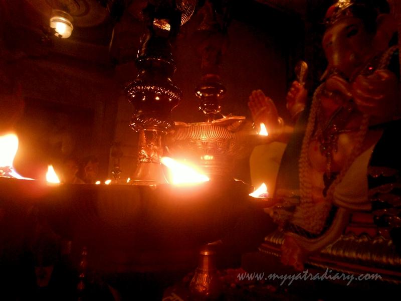 Lighted diyas in Uttarakhand temple theme, Ganesh Pandal Hopping Mumbai