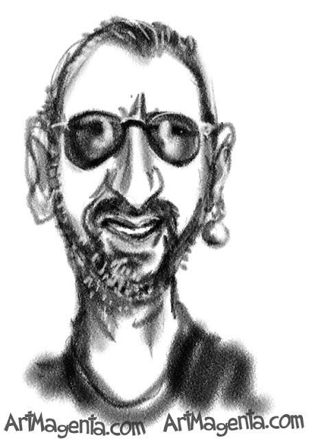 Ringo Starr caricature cartoon. Portrait drawing by caricaturist Artmagenta