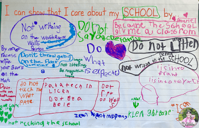 Anchor chart that shows student brainstorming about how they can show they care about their school.