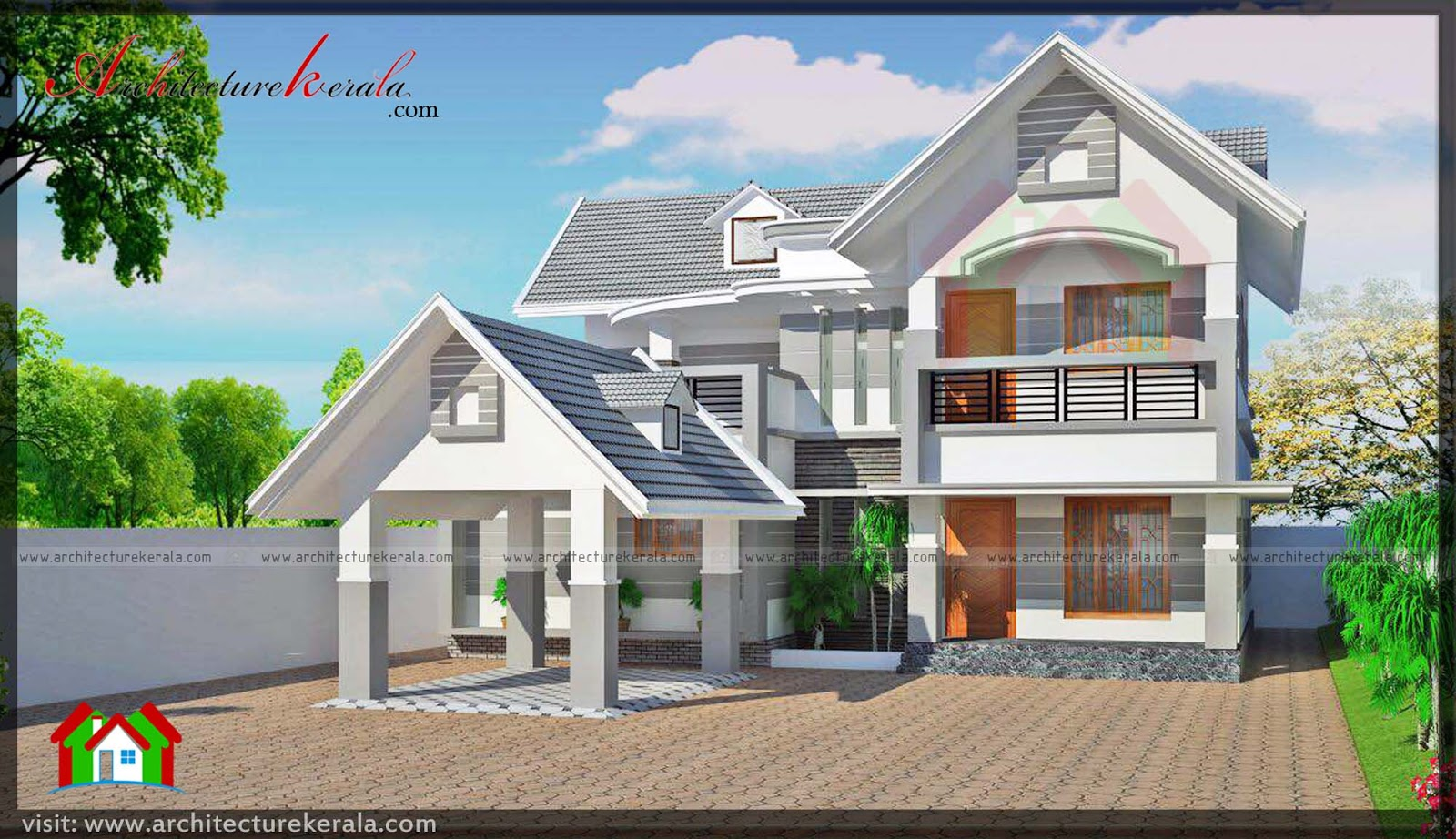 4 bedroom lovely two storied kerala home plan in 2282 sq for Free kerala home plans