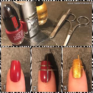 Tutorial unghie rosse e oro decorate con strisce adesive, molto facili