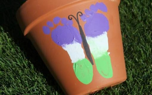 FunCraftsForKids Footprint Butterfly Flower Pot